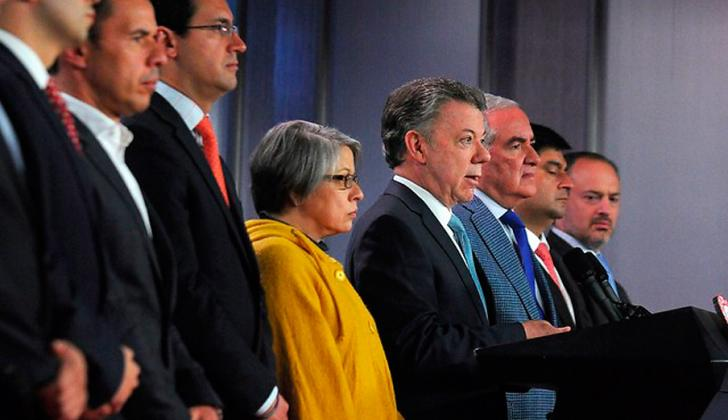 El presidente Santos, durante el anuncio.