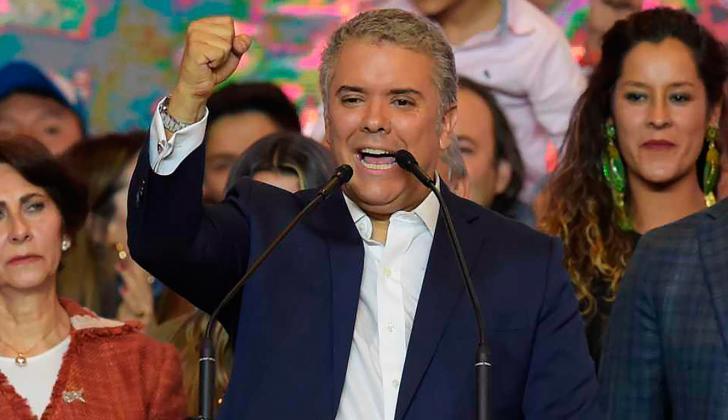 Iván Duque, presidente electo de Colombia, durante su discurso de agradecimiento.