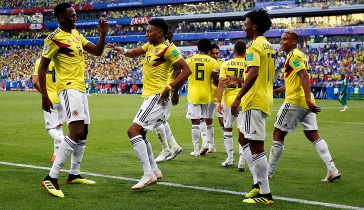 Los jugadores celebran el tanto de Yerry Mina ante Senegal.