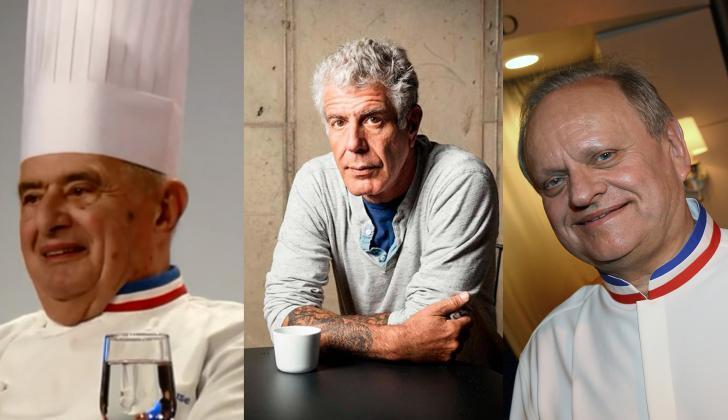 De izquierda a derecha, los chef Paul Bocuse, Anthony Bourdain y Joël Robuchon.