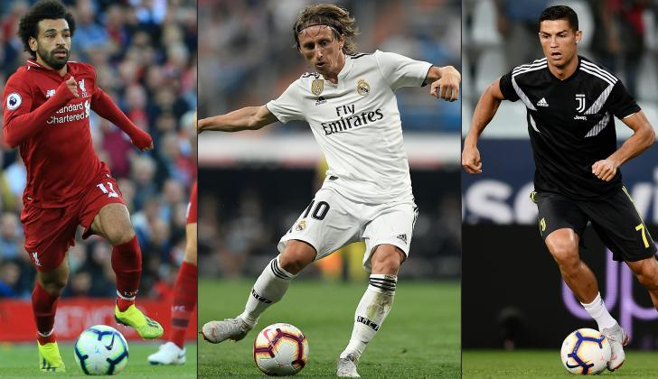 Mohamed Salah, Luka Modric y Cristiano Ronaldo.