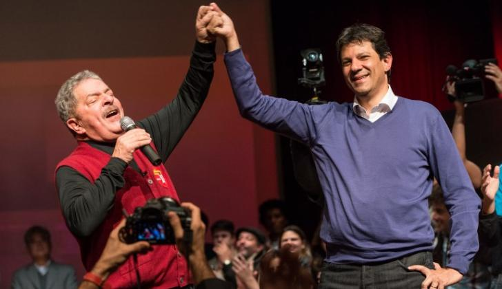 Lula da Silva y su compañero de fórmula Fernando Haddad