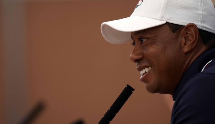 El golfista estadounidense Tiger Woods concedió ayer una rueda de prensa.