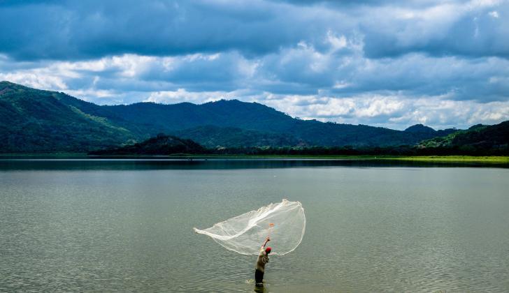 Un pescador lanza una atarraya en la laguna de Luruaco.
