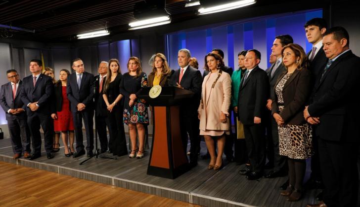 El presidente Iván Duque durante el encuentro con el partido Conservador.