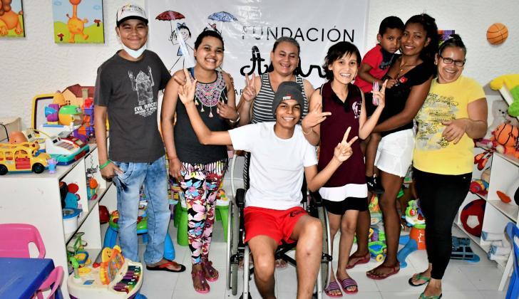 Jóvenes y niños pacientes de la Fundación Casa Hogar Andrea, que tiene su sede en Barranquilla.