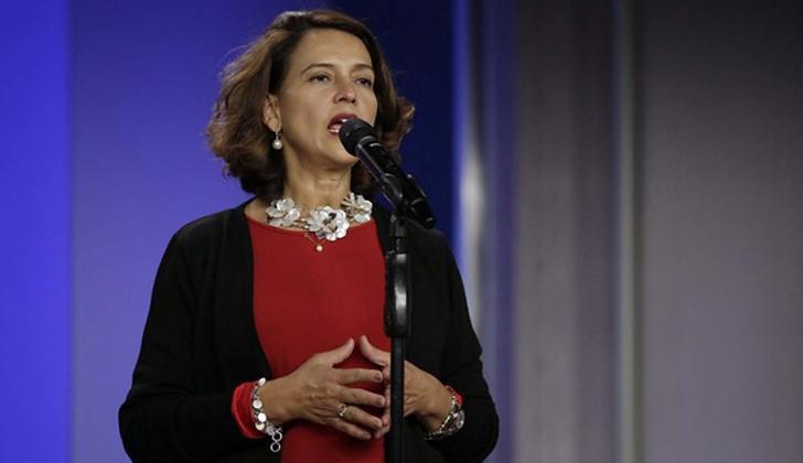 La ministra del Interior, Nancy Patricia Gutiérrez, en una intervención en la casa de Nariño.