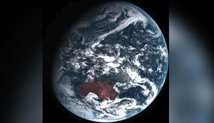 Imagen publicada de la roca, obtenida por el satélite japonés Himawari.