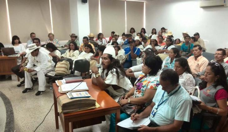 Audiencia desarrollada ante comunidades indígenas.