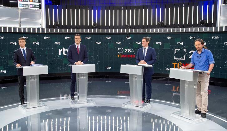 Pablo Casado (PP), Pedro Sánchez (PSOE), Albert Rivera (Cs) y Pablo Iglesias (Unidas Podemos), en el Estudio 1 en Prado del Rey.