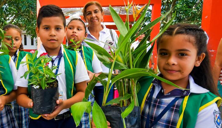 Niños del colegio llevan diferentes especies de plantas.