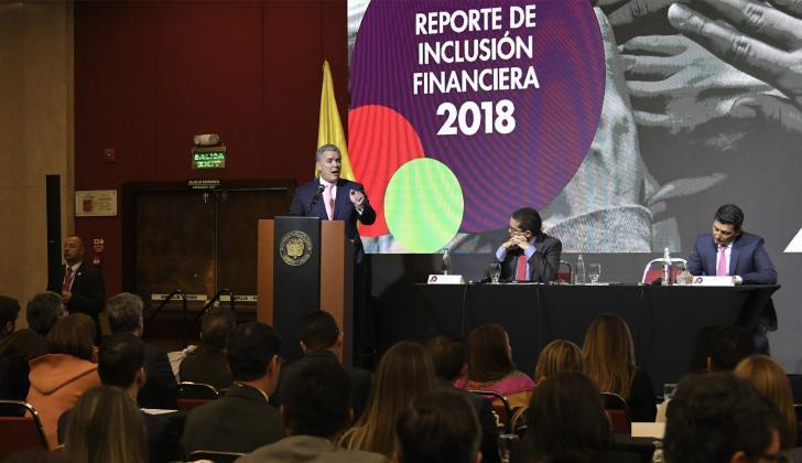 El presidente Iván Duque durante la presentación del reporte económico.