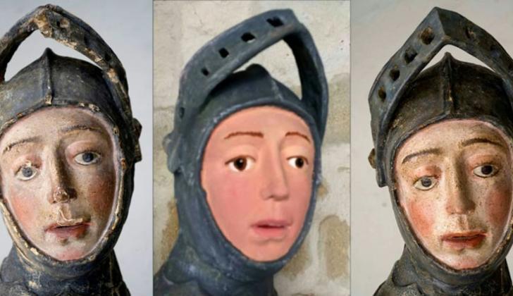 La escultura de San Jorge, antes de la restauración por unos aficionados, tras ella y después.
