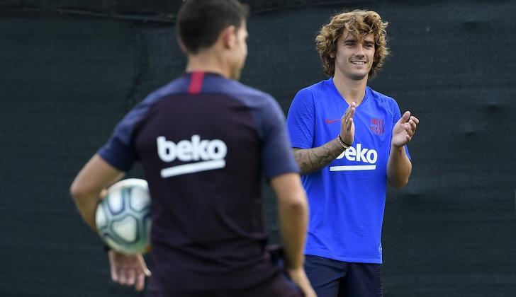 Antoine Griezmann en práctica con Barcelona.