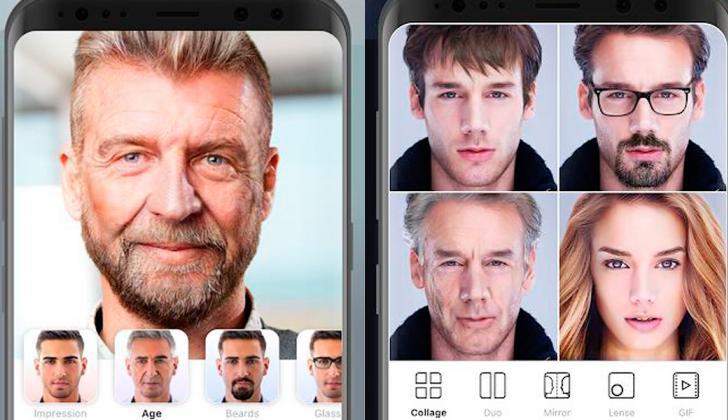 Diferentes filtros de la aplicación Faceapp.