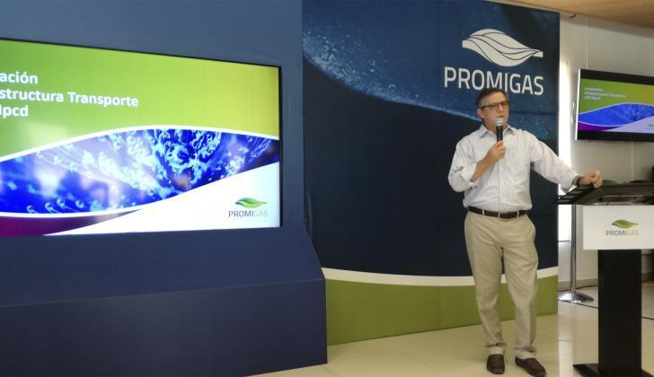 El presidente de Promigas, Eric Flesch, durante la rueda de prensa.