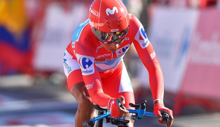 El colombiano Nairo Quintana durante la crono de la 10 etapa.