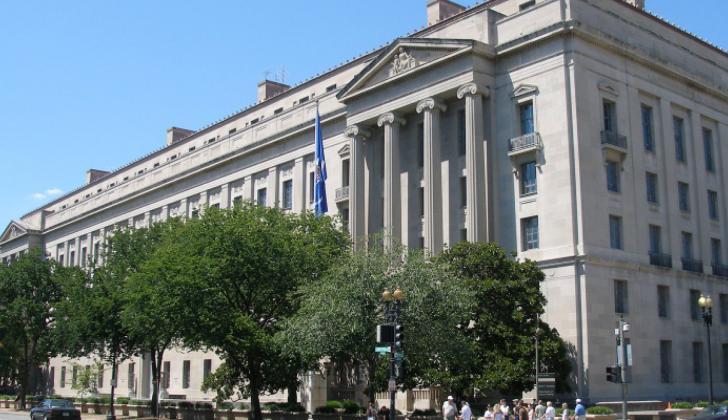 Fachada del edificio del Departamento de Justicia en Estados Unidos.