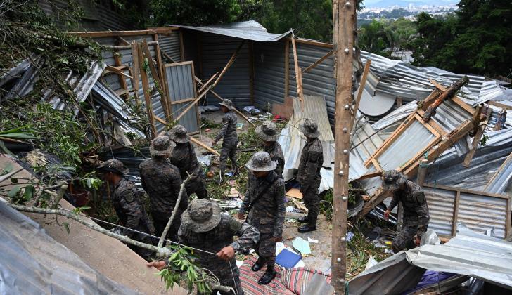 Daños causados por la lluvia en Guatemala.