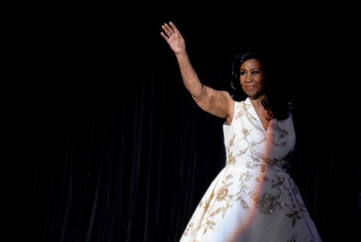 Aretha Franklin en el estreno del filme 'Clive Davis: la banda sonora de nuestras vidas', en el marco del Festival de Cine de Tribeca, en el Radio City Music Hall, el 19 de abril de 2017.