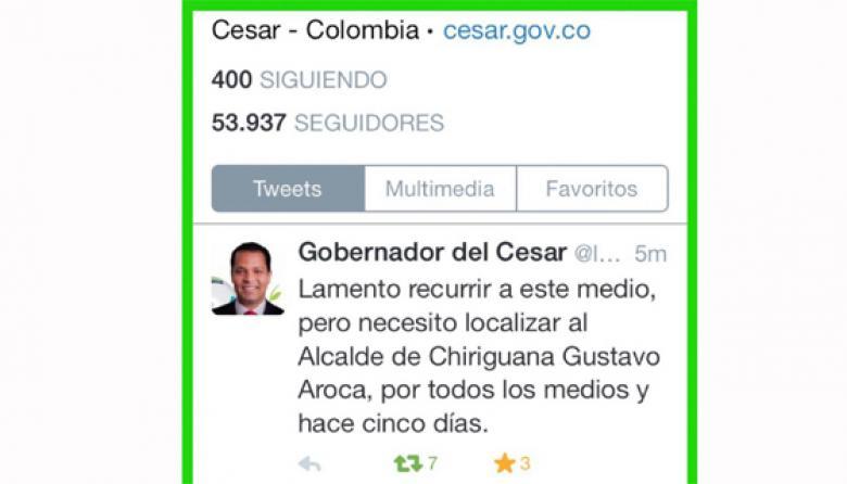 Con mensaje en Twitter, gobernador del  Cesar busca al alcalde de Chiriguaná