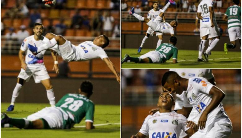 Acción del gol de Vladimir Hernández este sábado con el Santos.