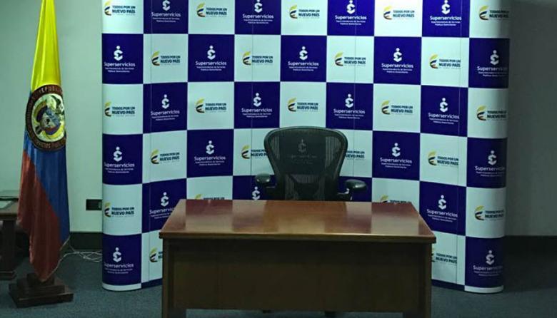 Sala de juntas de la Superservicios, lista desde ayer para el anuncio de Mendoza.