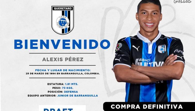 A través de esta imagen, los Gallos Blancos de Querétaro confirmaron oficialmente la contratación de Alexis Pérez.