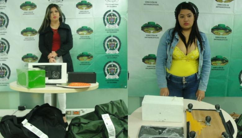 Las dos mujeres capturadas en operativo en el aeropuerto Ernesto Cortissoz.