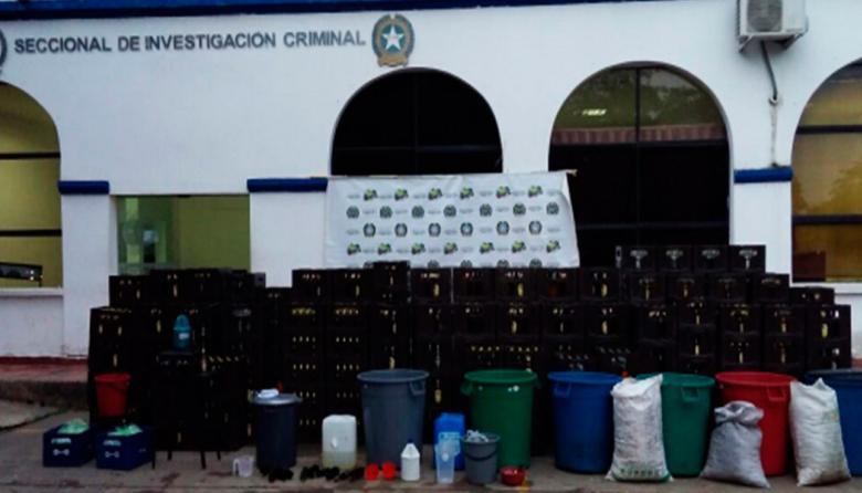 La supuesta fábrica de cervezas funcionaba en el barrio Galilea de Montería.