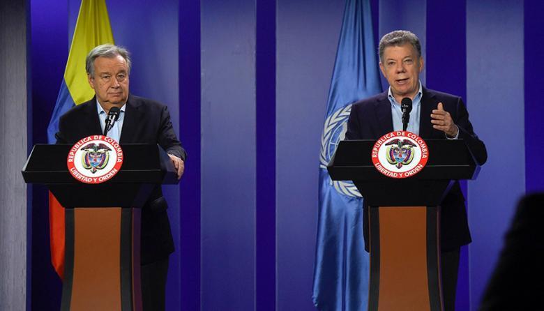 Antonio Gutérres, secretario general de la ONU, y Juan Manuel Santos, presidente de la República.
