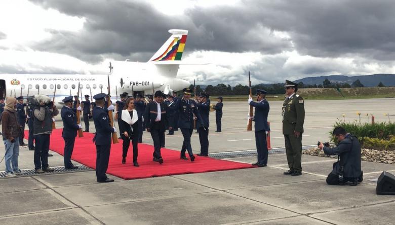 El presidente de Bolivía, Evo Morales, a su llega a Bogotá.