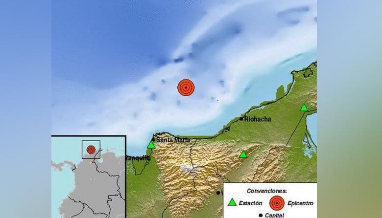 Se registró sismo en el mar Caribe, a 93 kilómetros de Dibulla, La Guajira