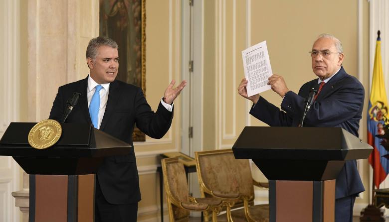 El presidente Iván Duque y el secretario general de la Ocde, José Ángel Gurría, en el Palacio de Nariño.