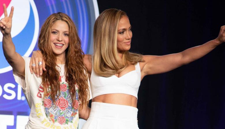 Shakira y Jennifer López en la rueda de prensa celebrada el pasado jueves.