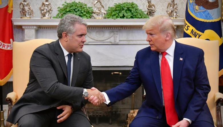 El presidente de Colombia Iván Duque y el presidente de EEUU Donald Trump.