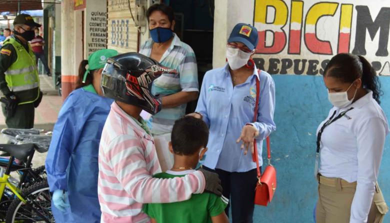 Autoridades durante los operativos contra el trabajo infantil en Riohacha.