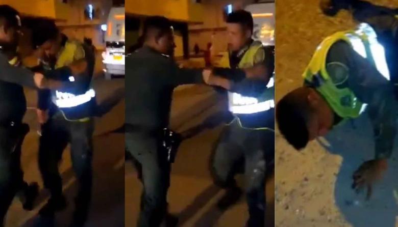 Tres escenas del incidente de dos policías en Cartagena captados en video.