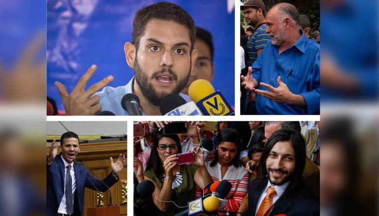 Diputados venezolanos Juan Requesens (i-arriba), Ismael León (d-arriba), Gilber Caro (i-abajo), y Renzo Prieto (d-abajo).