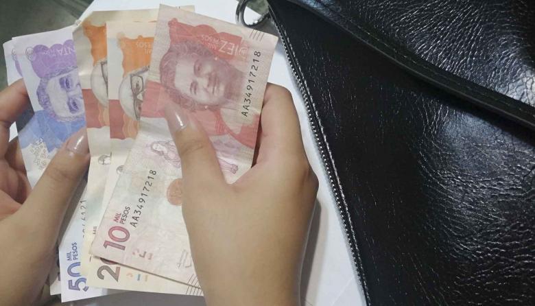 Una persona cuenta billetes de diferentes denominaciones.