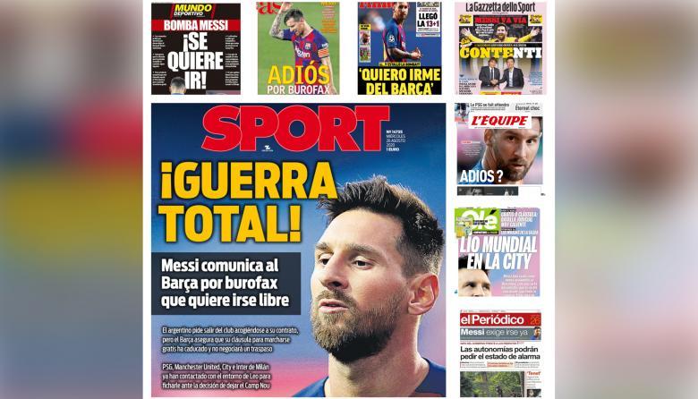 Decisión de Messi de irse del Barcelona inunda las portadas deportivas