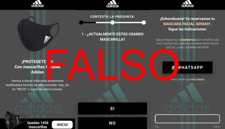 Adidas no está sorteando zapatos y tapabocas, como dice cadena de WhatsApp