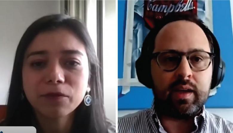 María Fernanda Sánchez, gerente de promoción e inversión en LA de Procolombia y Ricardo Plata, secretario de Desarrollo del Distrito.