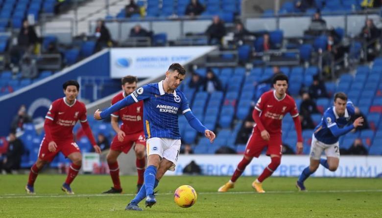 El alemán Pascal Gross, con una pena máxima anotada a poco del final, evitó el triunfo del Liverpool en su visita al Brighton.