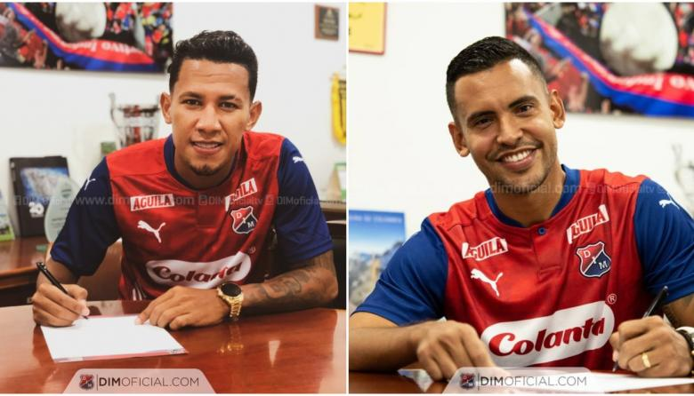 James Sánchez y Germán Gutiérrez firmando contrato con el Medellín.