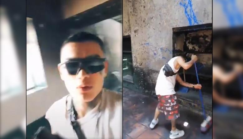 Grabó un video celebrando el incendio del CAI de Engativá y luego le toco limpiarlo