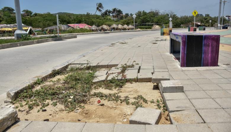 Malecón de Puerto Colombia presenta daños en varias zonas