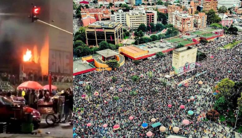 Vándalos prenden fuego a Monumento a los Héroes en Bogotá