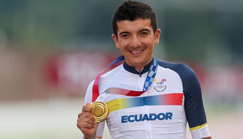 Richard Carapaz mostró su alegría por su oro en los Juegos Olímpicos de Tokio