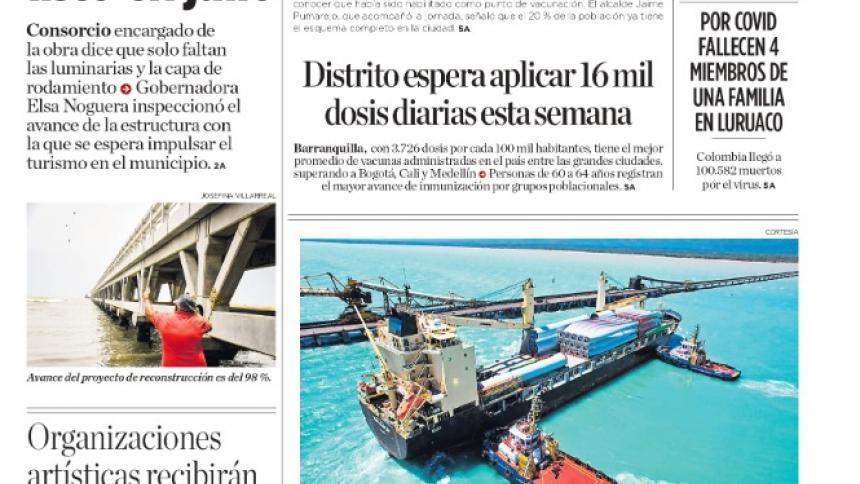 El Muelle de Puerto Colombia, listo en julio